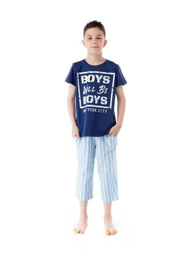Pamuk & Pamuk Mavi Çizgili Genç Erkek Bermuda Pijama Takım Renkli